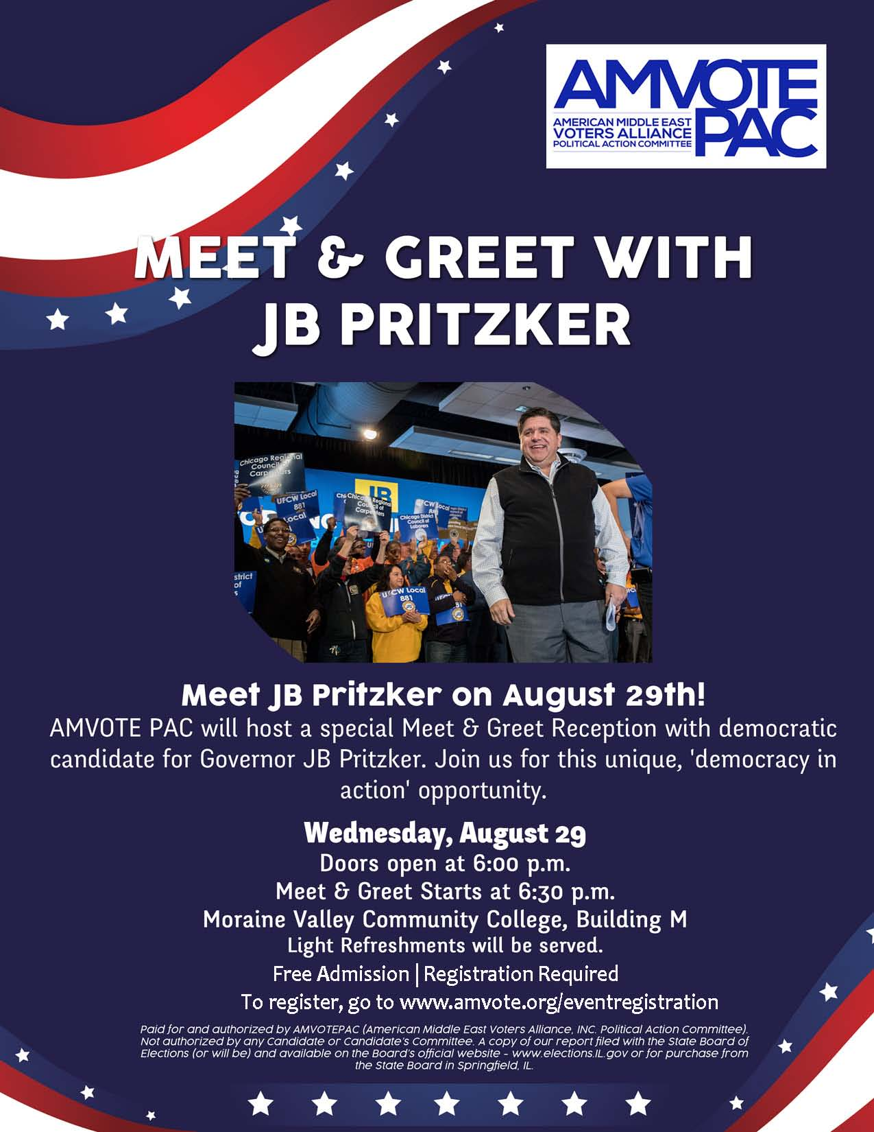 Meet Greet With Jb Pritzker Amvote Pac American Middle East